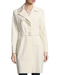 Cinzia Rocca Solid Belted Trench Coat Ivory