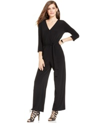 Ny Collection Petite Belted Jumpsuit Black