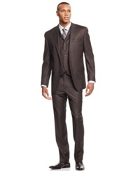 Sean John Big And Tall Taupe Pindot Vested Classic Fit Suit Olive
