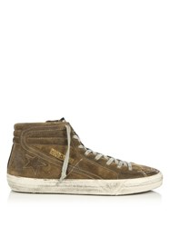 Golden Goose Slide High Top Suede Trainers Brown Multi