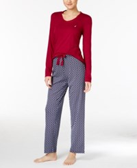Nautica Scoop Neck Knit Top And Printed Pajama Pants Gift Set Ruby Checkered