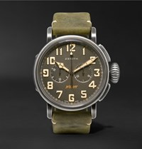 Zenith Heritage Pilot Ton Up 45Mm Stainless Steel And Oiled Nubuck Chronograph Watch Green