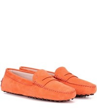 Tod's Gommini Suede Loafers Orange