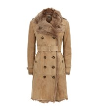 Burberry Shearling Belted Trench Coat Female Brown