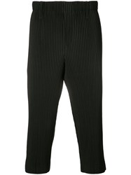 Homme Plisse Issey Miyake Ribbed Cropped Trousers Unisex Polyester M Black