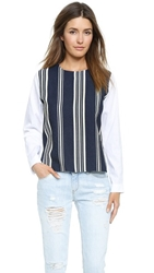 English Factory Striped Blouse Navy