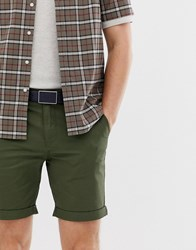 Selected Homme Chino Shorts In Organic Cotton Green