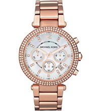 Michael Kors Mk5491 Parker Rose Gold Plated Watch Mother Of Pearl
