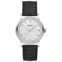 Montblanc 114366 Women's Tradition Date Alligator Leather Strap Watch Black Silver