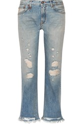 R 13 R13 Classic Distressed Mid Rise Straight Leg Jeans Mid Denim