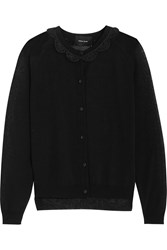 Simone Rocha Crochet Trimmed Cotton Blend Cardigan Black