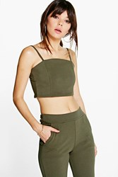 Boohoo Crop Strappy Top Olive