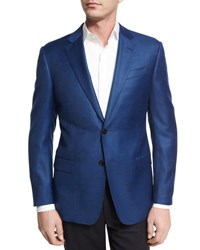 Armani Collezioni Houndstooth Wool Two Button Sport Coat Bright Navy