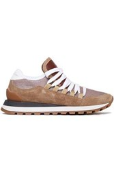 Brunello Cucinelli Woman Rubber Trimmed Metallic Mesh And Suede Sneakers Brown