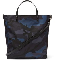 Valentino Leather Trimmed Camouflage Print Shell Tote Bag Blue