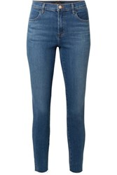 J Brand Alana Cropped Frayed High Rise Skinny Jeans Mid Denim