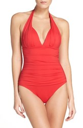 Tommy Bahama Women's Pearl Solids Pleated Halter One Piece Swimsuit