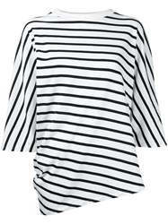 En Route Striped Oversized T Shirt Women Cotton One Size White