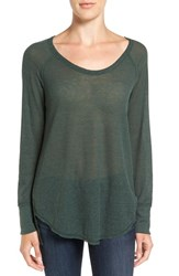 Treasure And Bond Women's Slouchy Thermal Tee Green Wood