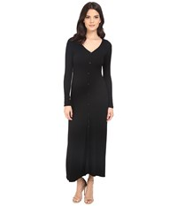 Brigitte Bailey Daliah Ribbed Button Up Maxi Dress Black Women's Dress
