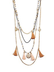 Cara Beaded Tassel Necklace Beige Red
