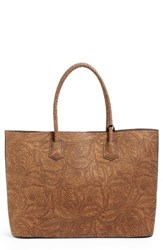 Sole Society Hawna Faux Leather Tote Brown Cognac