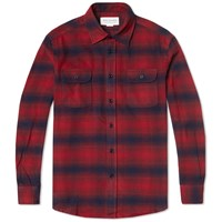 Tripl Stitched Double Pocket Flannel Shirt Red And Navy Stripe