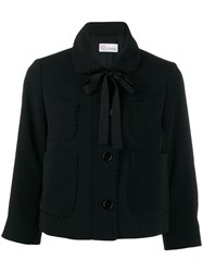 Red Valentino Scalloped Detail Cropped Jacket Black