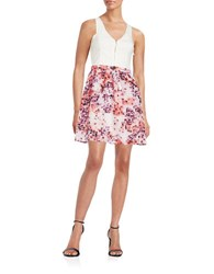 Guess Textured A Line Dress Ivory Multi
