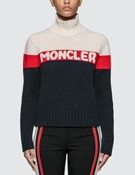 Moncler Intarsia Knitted Sweater Red