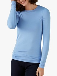 Pure Collection Soft Jersey Crew Neck Top Bluebell