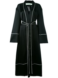 Off White Belted Robe Coat Women Silk Polyester Acetate S Black
