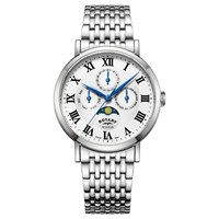 Rotary Gb05325 01 Men's Windsor Day Date Month Moonphase Bracelet Strap Watch Silver White