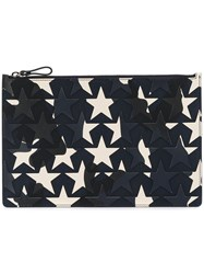 Valentino Star Print Clutch Bag Men Cotton Leather One Size Blue