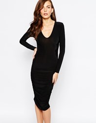 Club L Essentials Plunge Neck Midi Dress With Ruching In Slinky Black