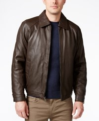 Nautica Men's Big And Tall Point Collar Leather Jacket Milk Chocolate