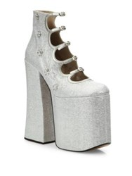 Marc Jacobs Lili Strappy Platform Pumps Silver