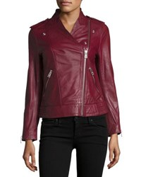 Zadig And Voltaire Leather Asymmetric Zip Jacket Prune