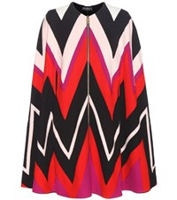 Salvatore Ferragamo Printed Wool Cape Multicoloured