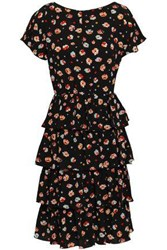 Mikael Aghal Woman Tiered Floral Print Crepe Dress Black