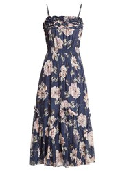 Rebecca Taylor Magnolia Floral Print Silk Blend Dress Navy Multi