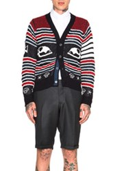 Thom Browne Fish Fair Isle Cardigan In Blue Abstract