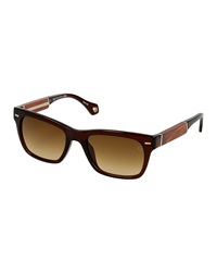Ermenegildo Zegna Vintage Wooden Gradient Sunglasses Brown