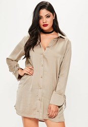 Missguided Plus Size Brown Hammered Satin Shirt Dress