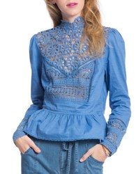 Plenty By Tracy Reese Victorian Lace Peplum Top Chambray