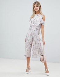 Love Ditsy Floral Print Skater Jumpsuit With Ruffle Detail Grey