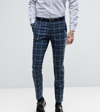 Noose And Monkey Super Skinny Suit Pants In Check Blue