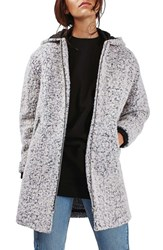 Topshop Women's Abigail Boucle Hooded Wool Blend Coat
