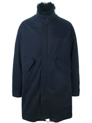 Yves Salomon Homme Fur Lined Parka Blue