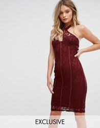 Naanaa Cross Front Lace Pencil Dress With Paneled Corset Detail Purple